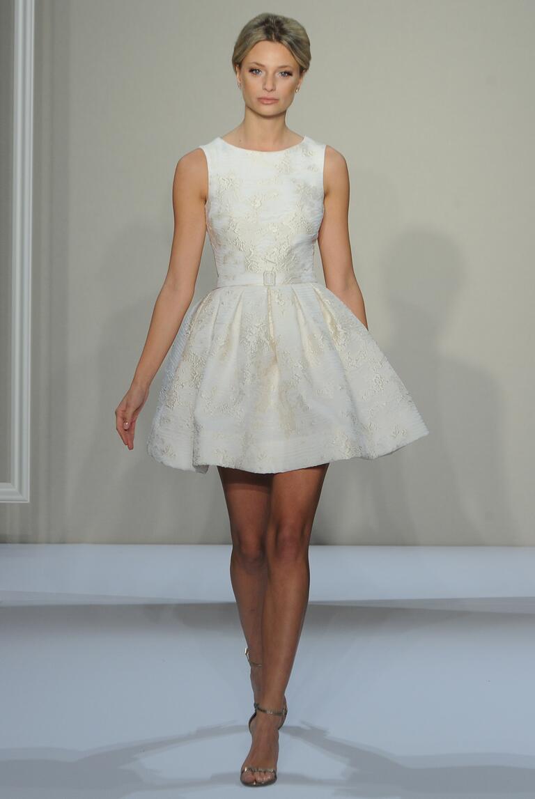 Dennis basso fall 2016 collection bridal fashion week photos for Valentino short wedding dress