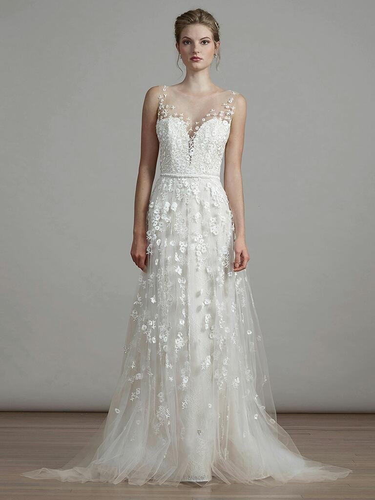 Liancarlo Spring 2018 A-line wedding dress with illusion overlay