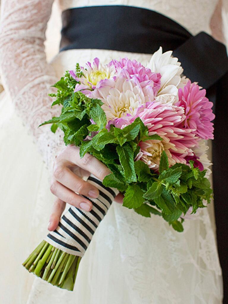Mint and dahlia bouquet