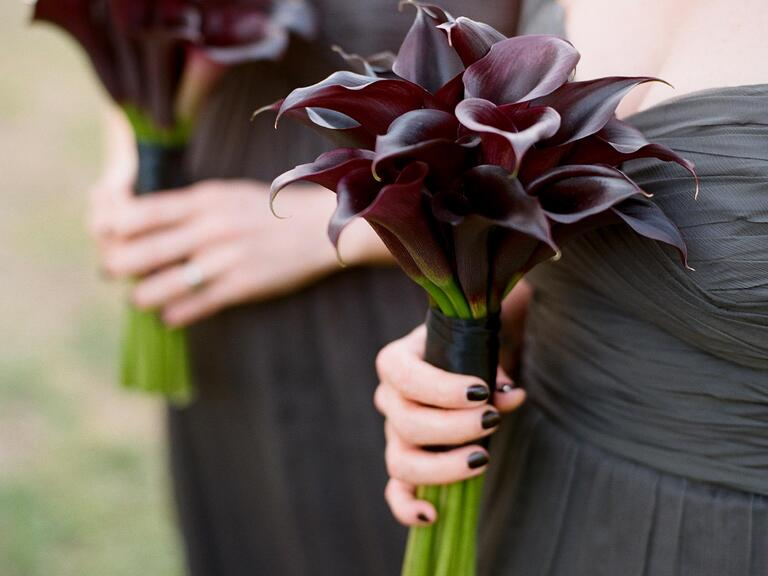 Dark plum colored calla lily bridesmaid bouquet