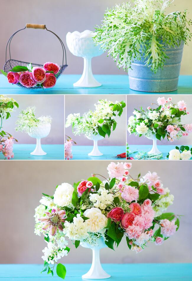 Here is how to DIY wedding flowers: figure out your design, buy vases and floral supplies, practice, buy your wedding flowers right before the wedding, put centerpieces together, and have enough space in a vehicle to transport them to the venue. All together it's a project.