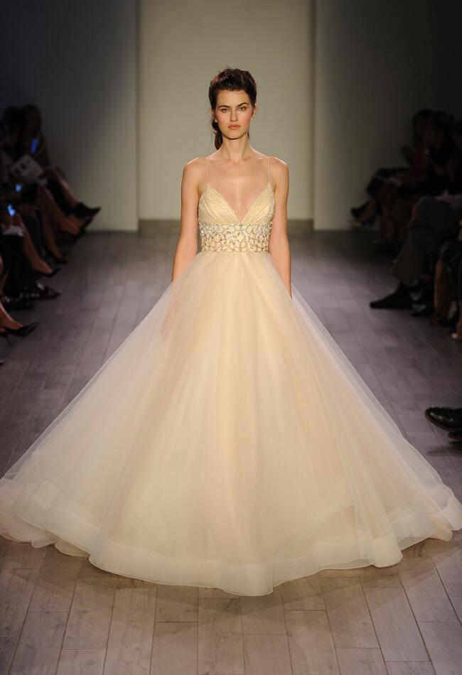 Lazaro Spring 2016 cream empire waistline tulle skirt wedding dress