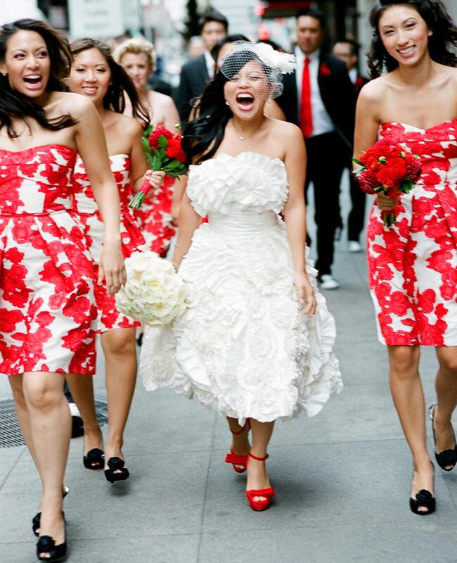 Floral Print Bridesmaid Dresses | Photo: Tanja Lippert Photography | The Knot Blog