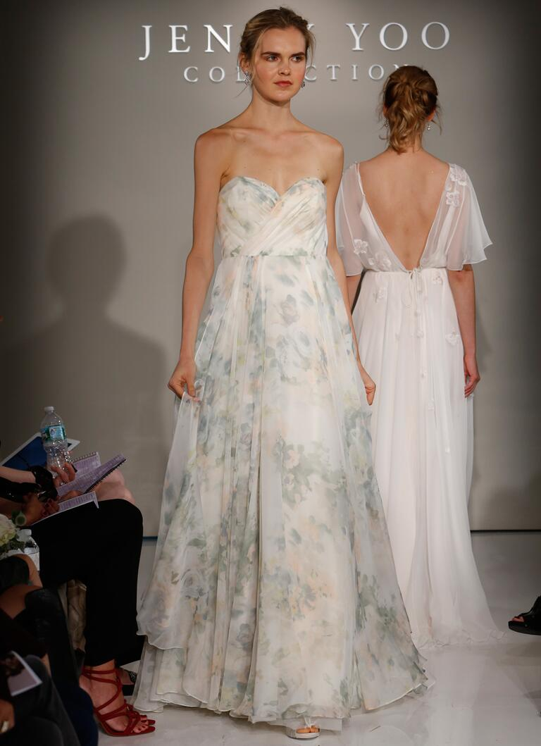 Jenny Yoo Fall 2016 blush and sage printed wedding dress with sweetheart neckline and flowing skirt
