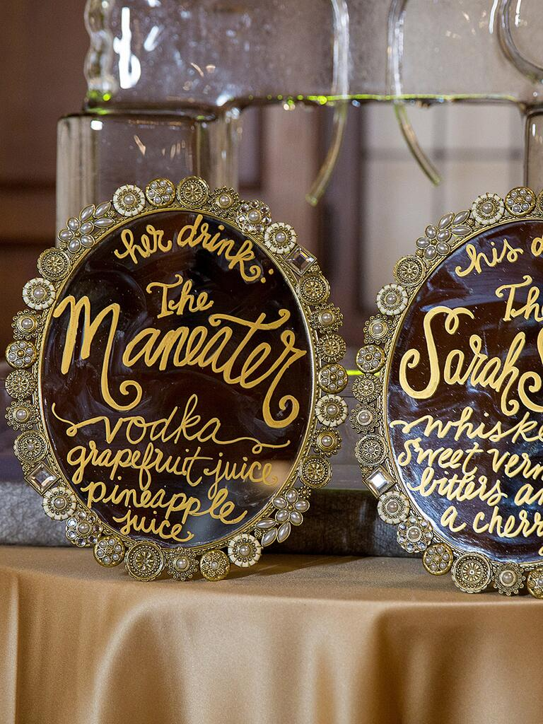 Cocktail hour idea, calligraphed mirror menus