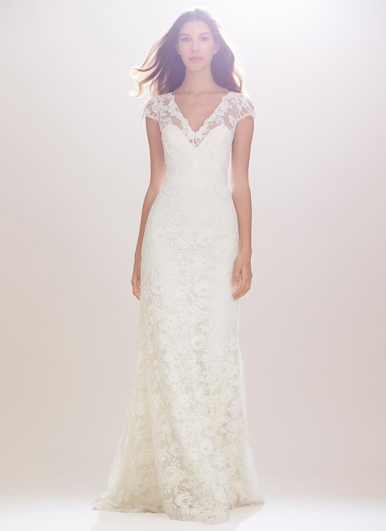 carolina herrera wedding dresses bridal fashion week fall wedding dresses for fall Carolina Herrera Fall white lace wedding dress with cap sleeves