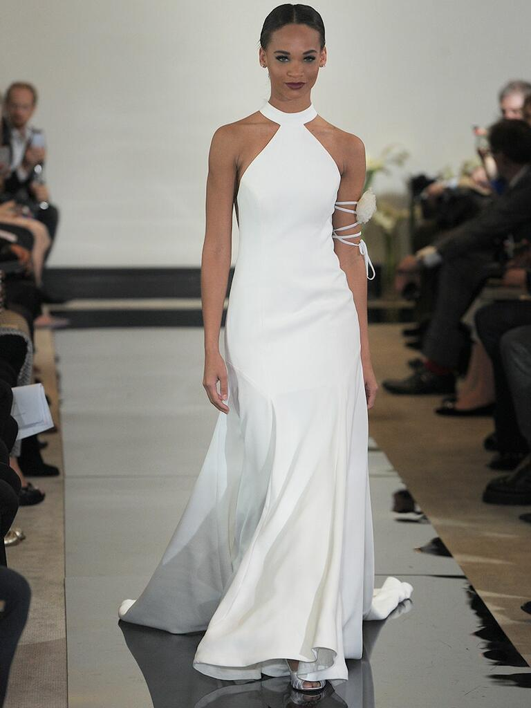 Justin Alexander Spring 2018 high-neck fit and flare wedding dress with bow back