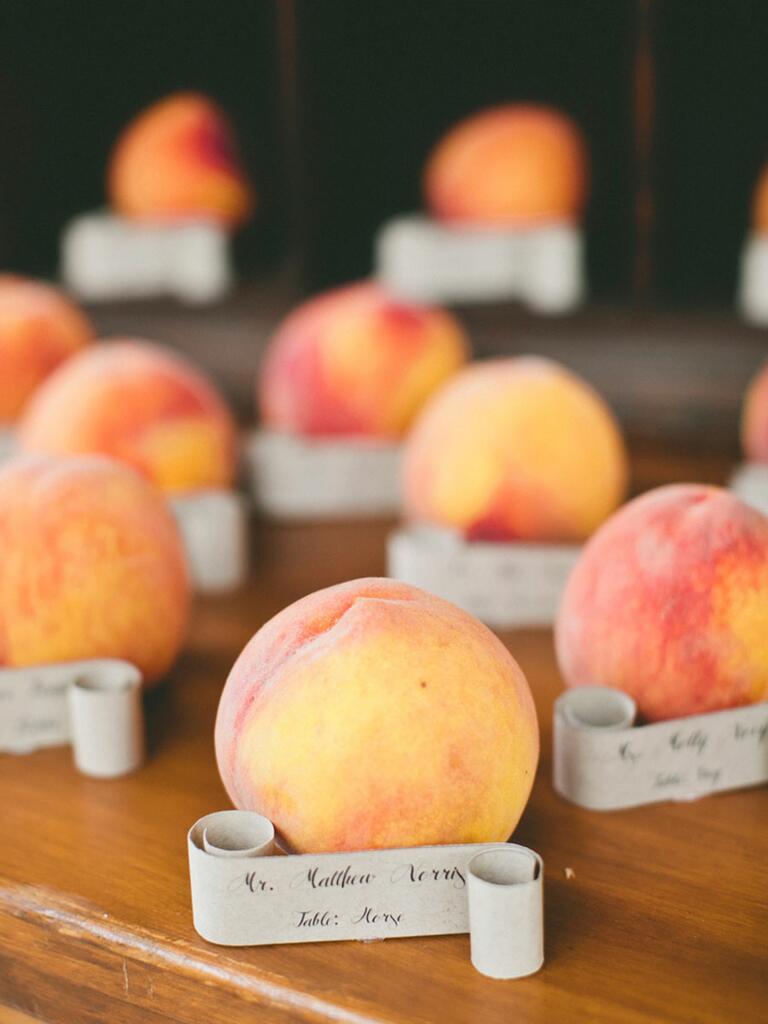 Fresh peach escort card idea