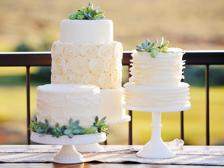 Succulent fondant wedding cakes