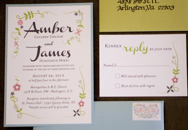 Simple Colorful Floral Invitations  <img class=