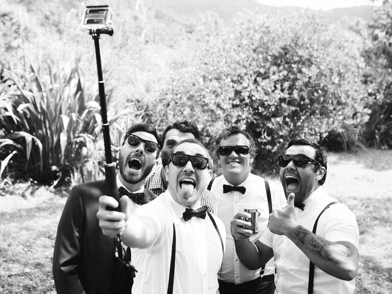 Selfie stick at wedding