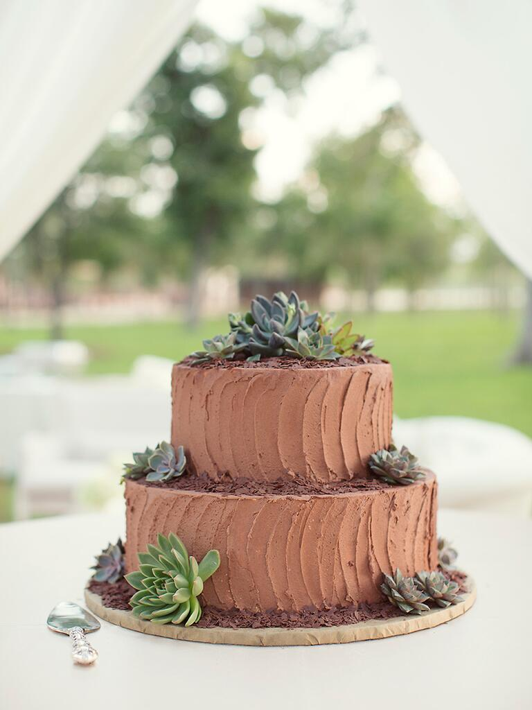 A two-tier chocolate wedding cake with succulents
