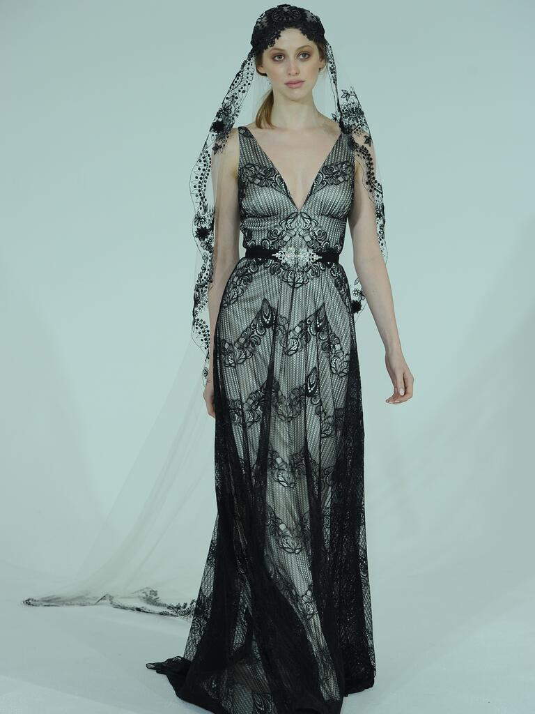 claire pettibone wedding dresses bridal fashion week spring black lace wedding dress Claire Pettibone plunging neckline black lace wedding dress with black veil from Spring