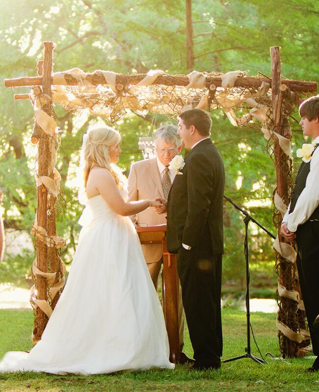 Woodland wedding ceremony backdrop: Kayla Barker Fine Art Photography / TheKnot.com