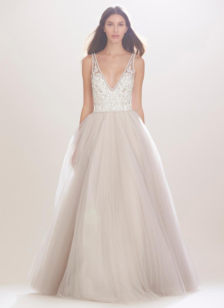 carolina herrera wedding dresses bridal fashion week fall plunge wedding dress Carolina Herrera Fall wedding dress with embroidered bodice and plunging neckline