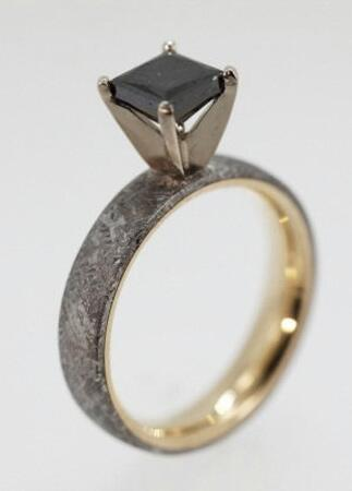meteorite engagement ring - Dinosaur Bone Wedding Ring