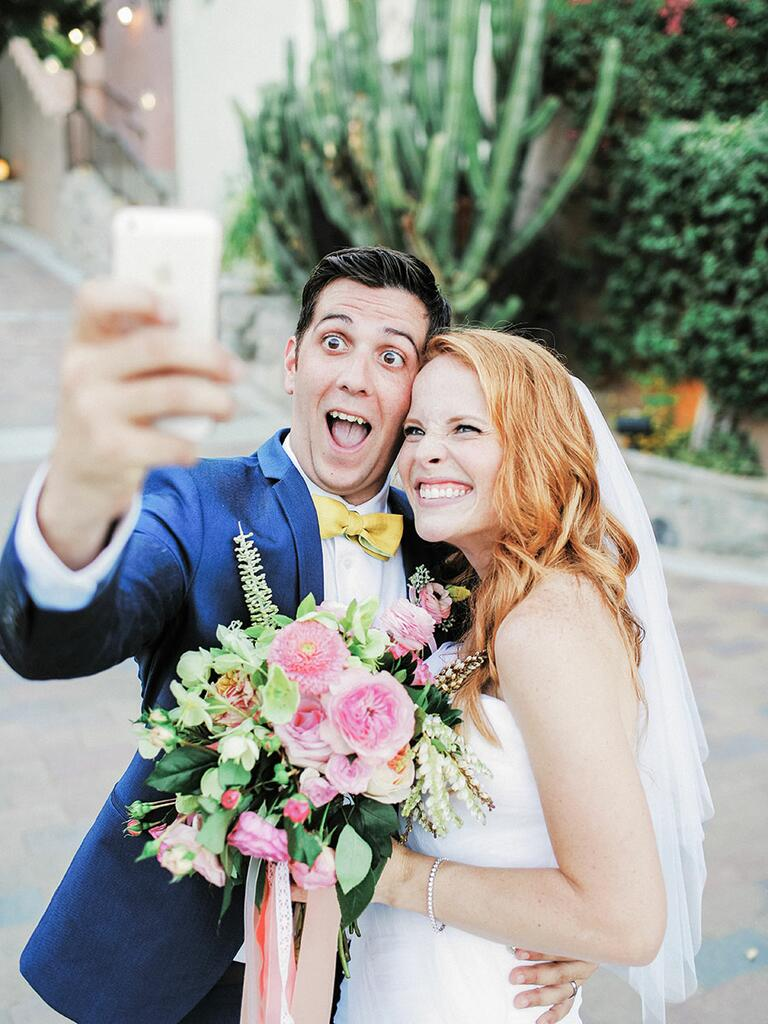 Bride and groom take a selfie