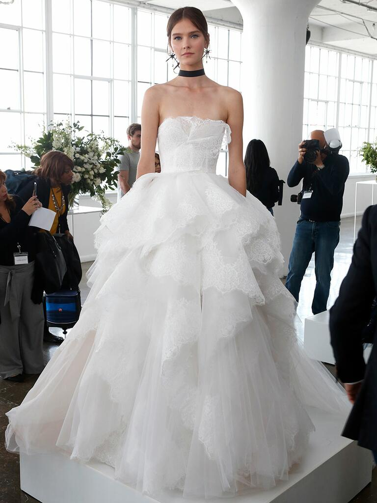 Marchesa Spring 2018 strapless ball gown with a structured corset bodice