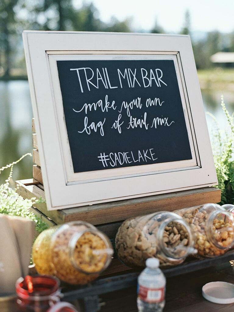Camp wedding rustic trail mix bar