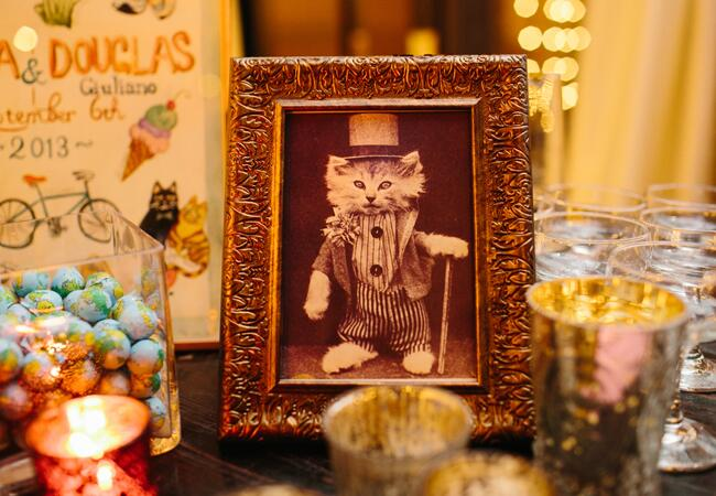 Vintage cat framed wedding decor