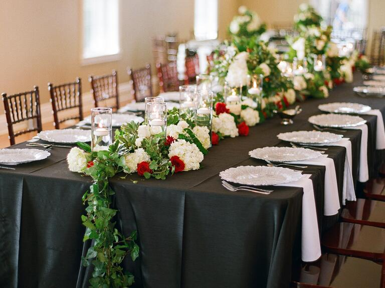 Valentine's Day themed reception tablescape