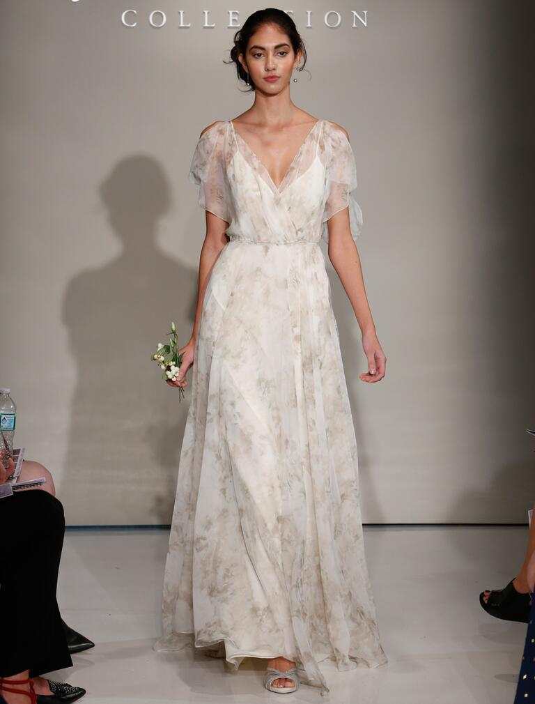 Jenny Yoo Fall 2016 grey patterned wedding dress with V neck and sheer open shoulder sleeves with flowing skirt