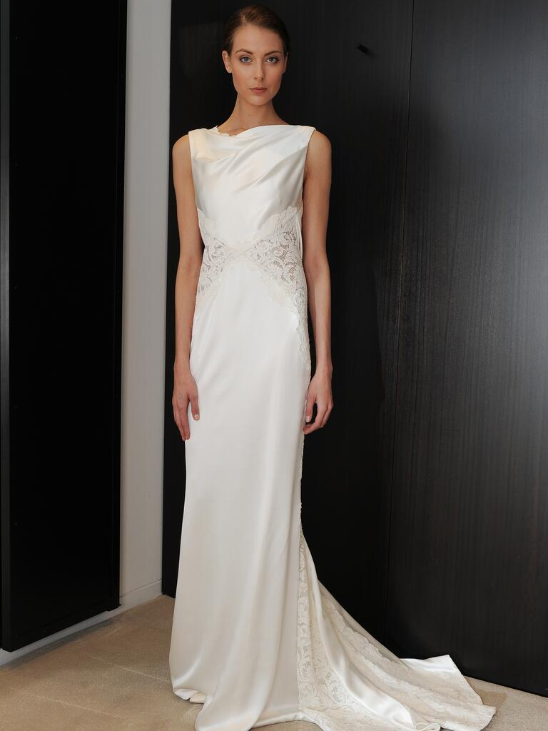 j mendel wedding dresses feature sleek and structured details boat neck wedding dress J Mendel satin boatneck wedding dress with lace cutouts from Spring