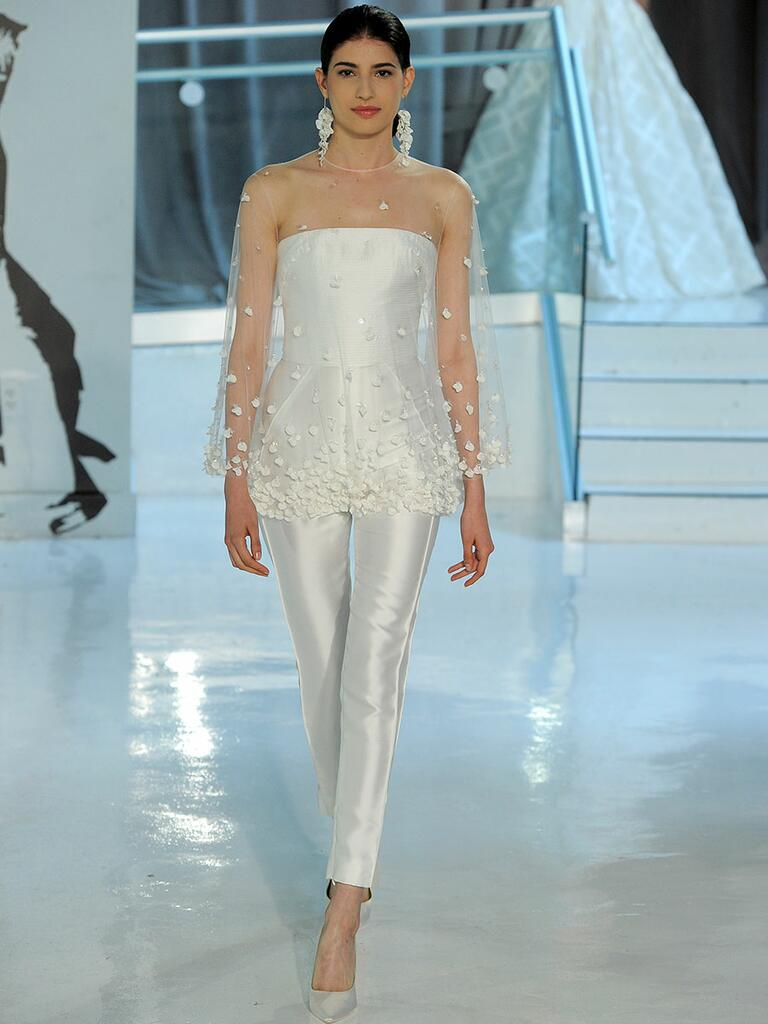 Peter Langner Spring 2018 jumpsuit with sheer bodice overlay