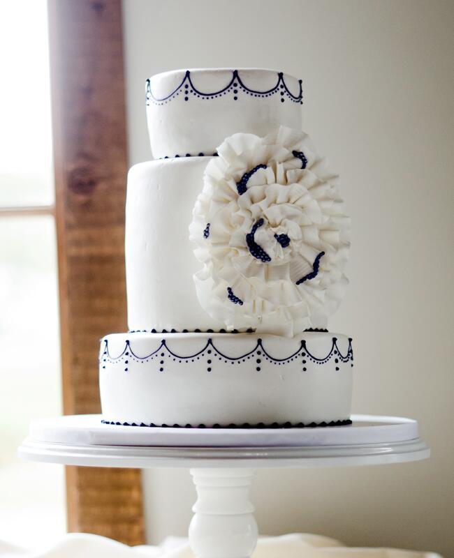 Purple & White Sugar Flower Cake  <img class=