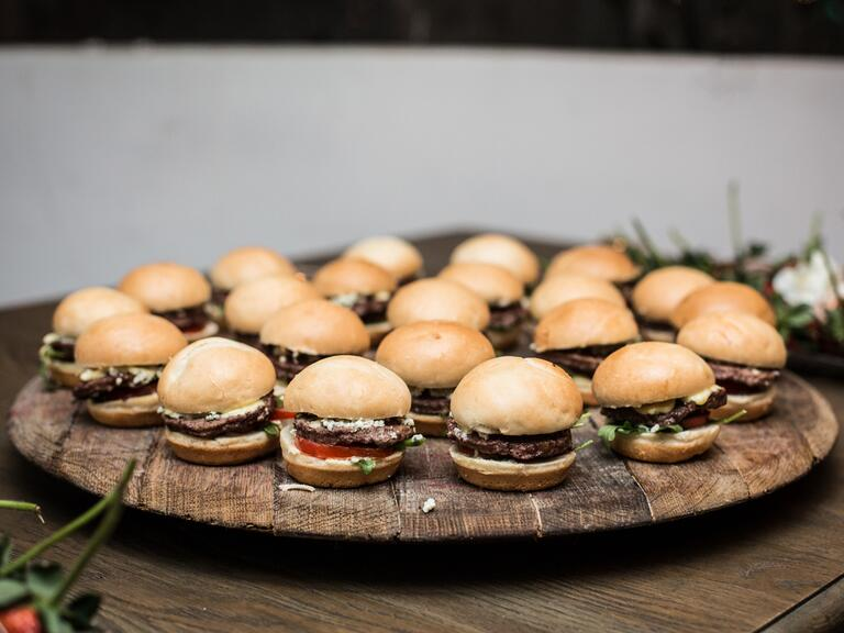 Mini burgers at a wedding