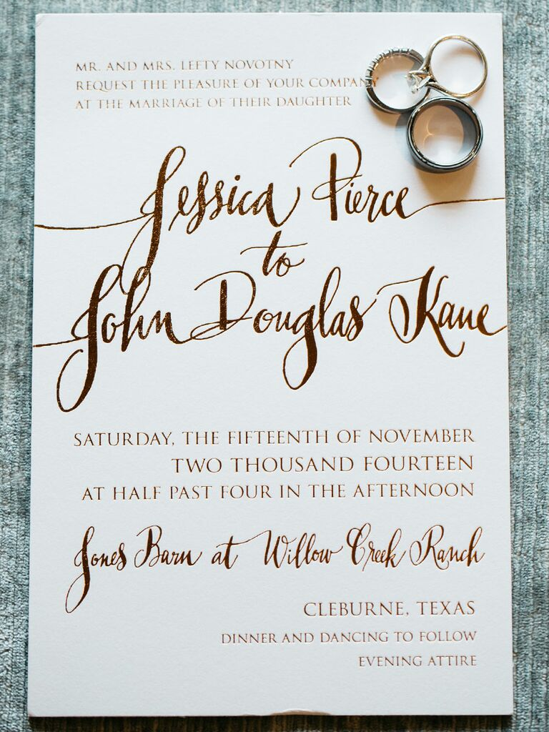 Gold Foil Invitations With A Mix Of Whimsical And Formal Type Set The Tone