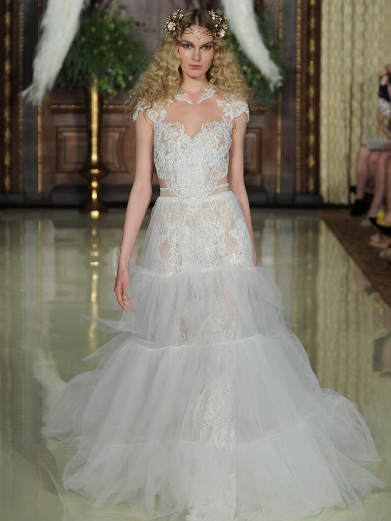 Galia Lahav sheer embroidered lace wedding dress with open waist and heart neckline from Spring 2016