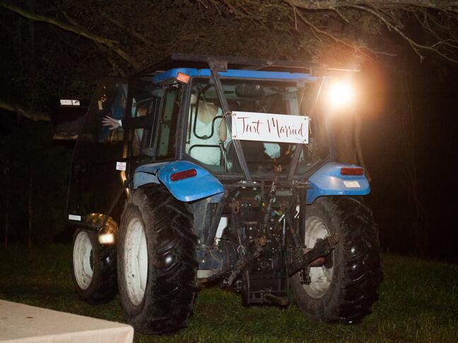 Tractor wedding exit