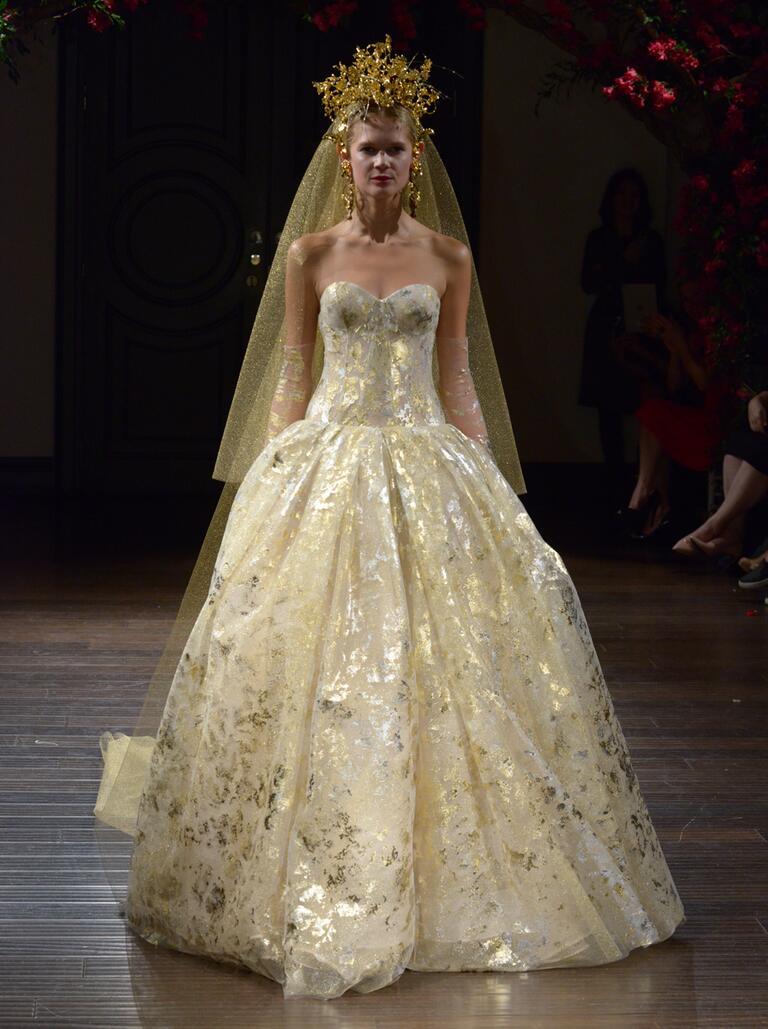 Naeem Khan Fall 2016 hand-painted gold strapless ball gown wedding dress
