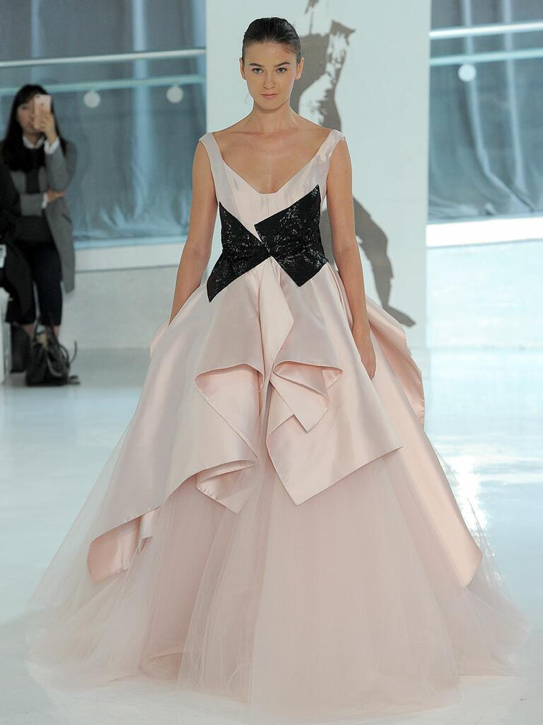 Peter Langner Spring 2018 pink and black wedding dress