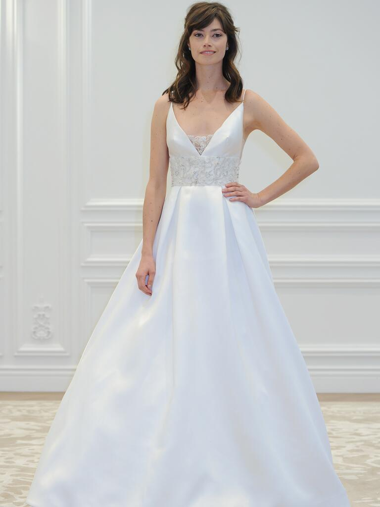 anne barge wedding dresses bridal fashion week spring wedding dresses Anne Barge V neck wedding dress from Spring