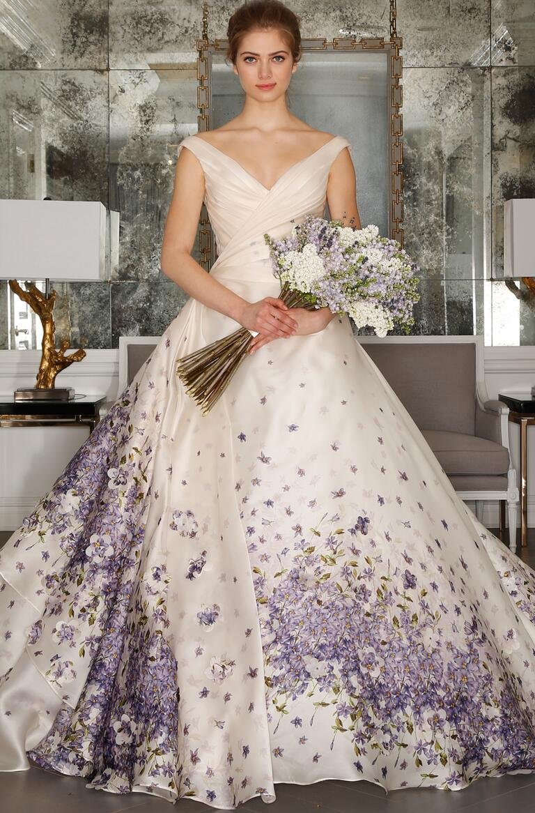 Purple floral off the shoulder wedding dress from Romona Keveza's Spring 2017 collection