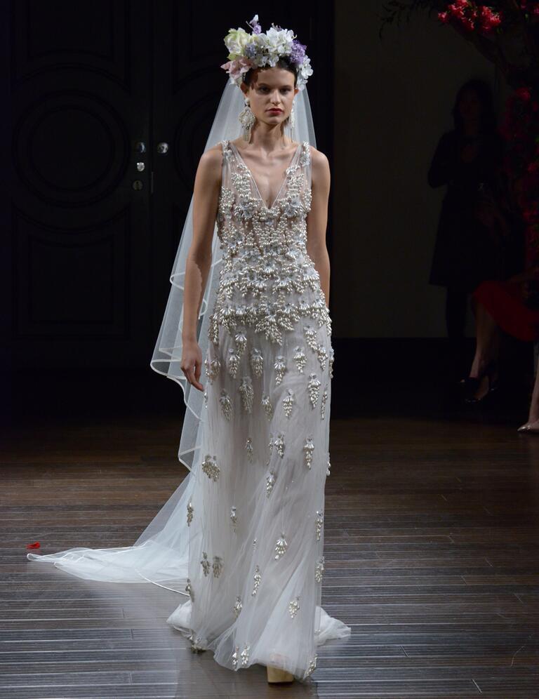 Naeem Khan Fall 2016 sheer sleeveless wedding dress with pearled embellishments and v-neck