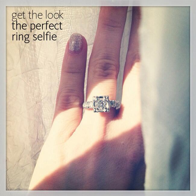Engagement ring selfie with glitter nail polish |<img class=