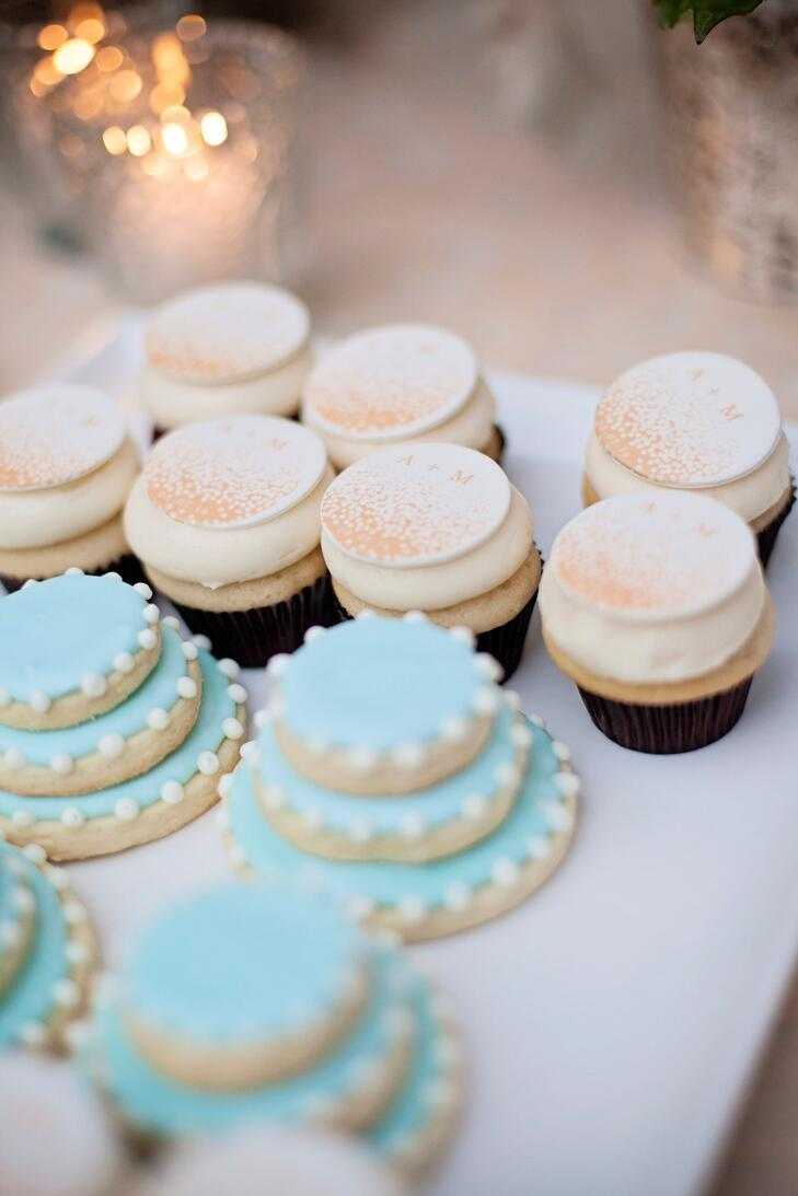Wedding cake themed sugar cookies in blue and white