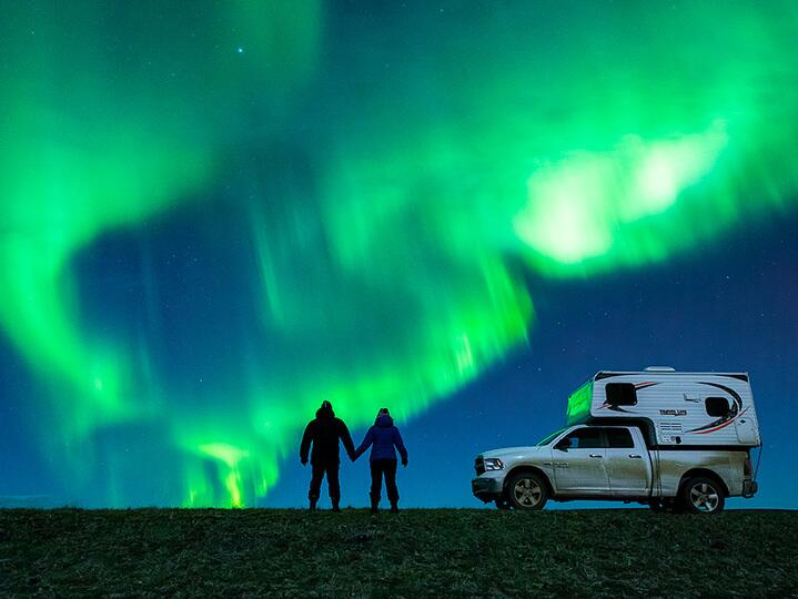 couple under the northern lights