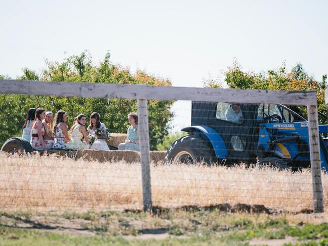 Wagon wedding arrival