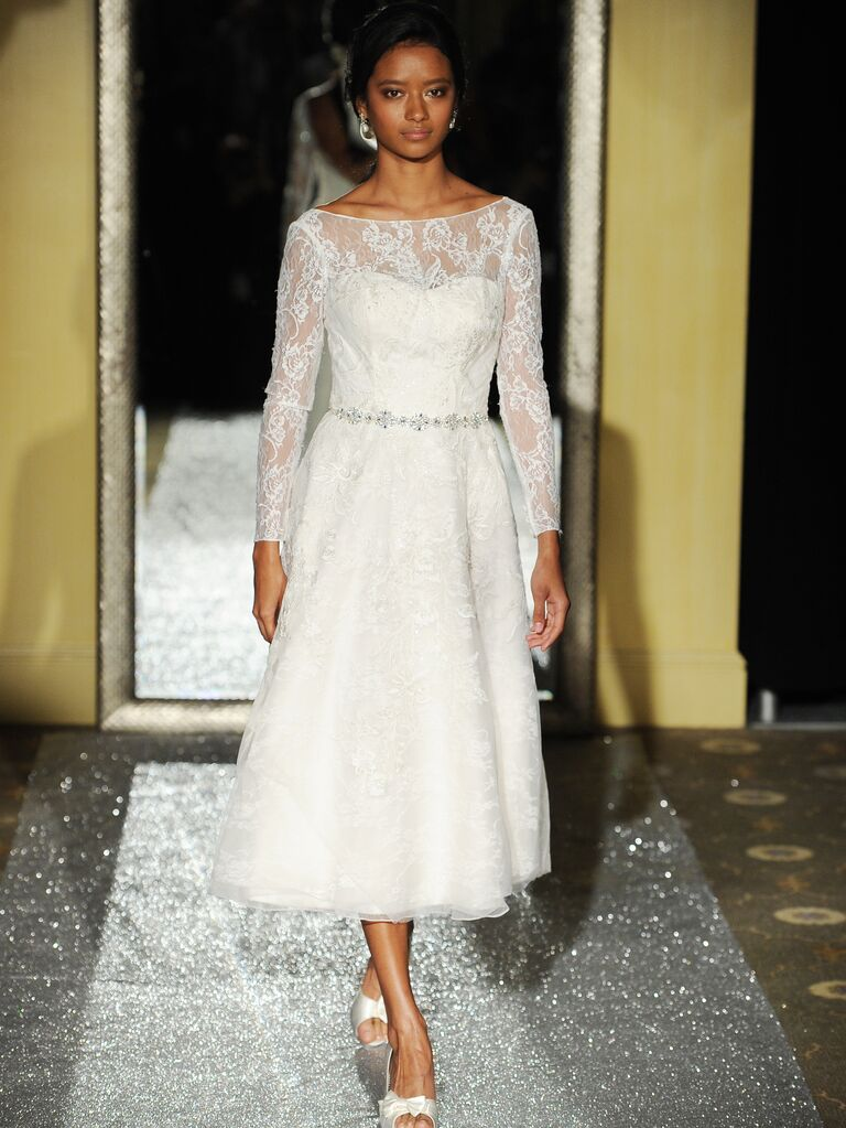 Oleg cassini spring 2016 bridal fashion week photos for Oleg cassini wedding dress tea length