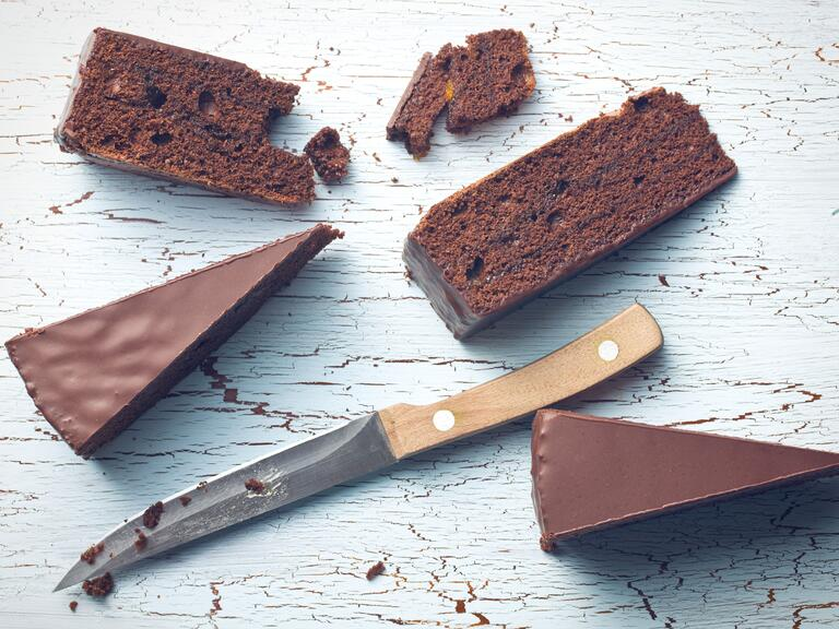 Chocolate cake with knife