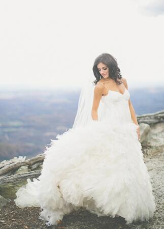 Monique Lhuillier Gown | The Shultzes | The Knot Blog