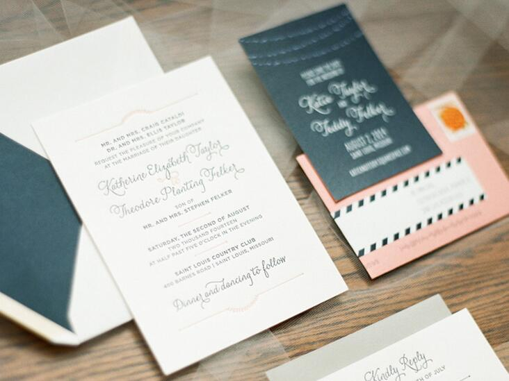 Pink and dark blue wedding invitation suite