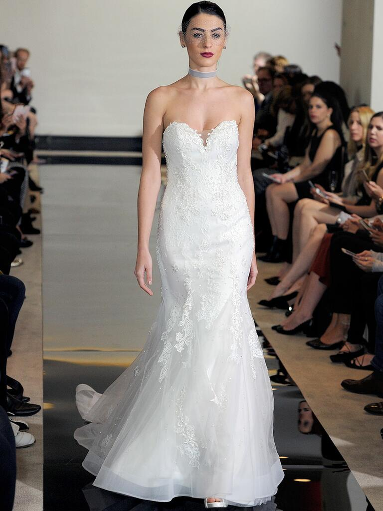 Justin Alexander Spring 2018 Chantilly lace sweetheart fit and flare wedding dress