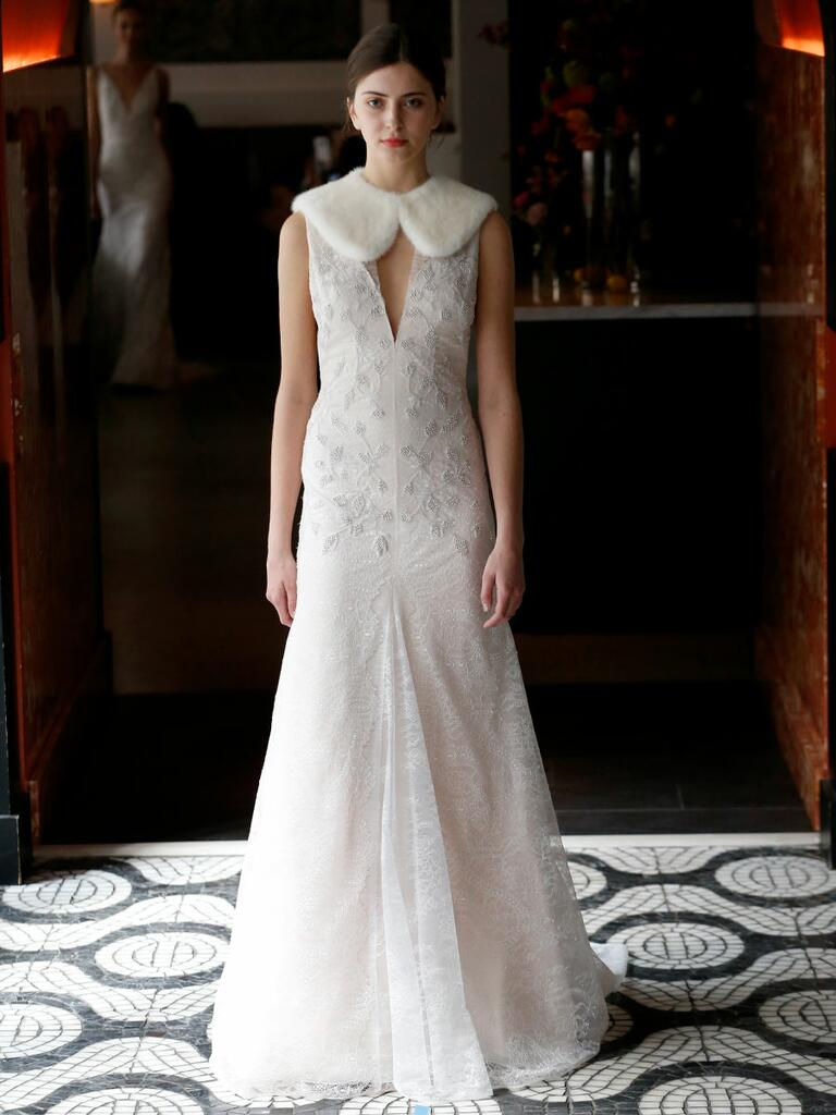 Lela Rose Spring 2018 blush wedding dress with fur collar