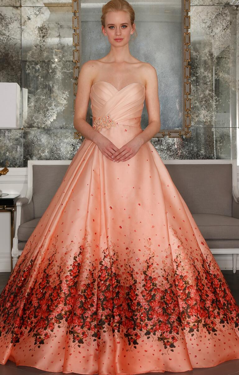 Blush and coral floral wedding dress from Romona Keveza's Spring 2017 collection