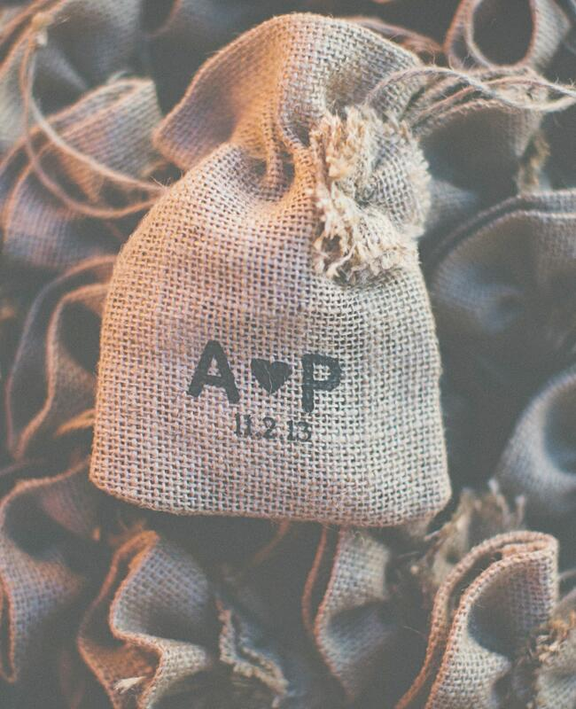 Rustic Burlap Favors | The Shultzes | The Knot Blog